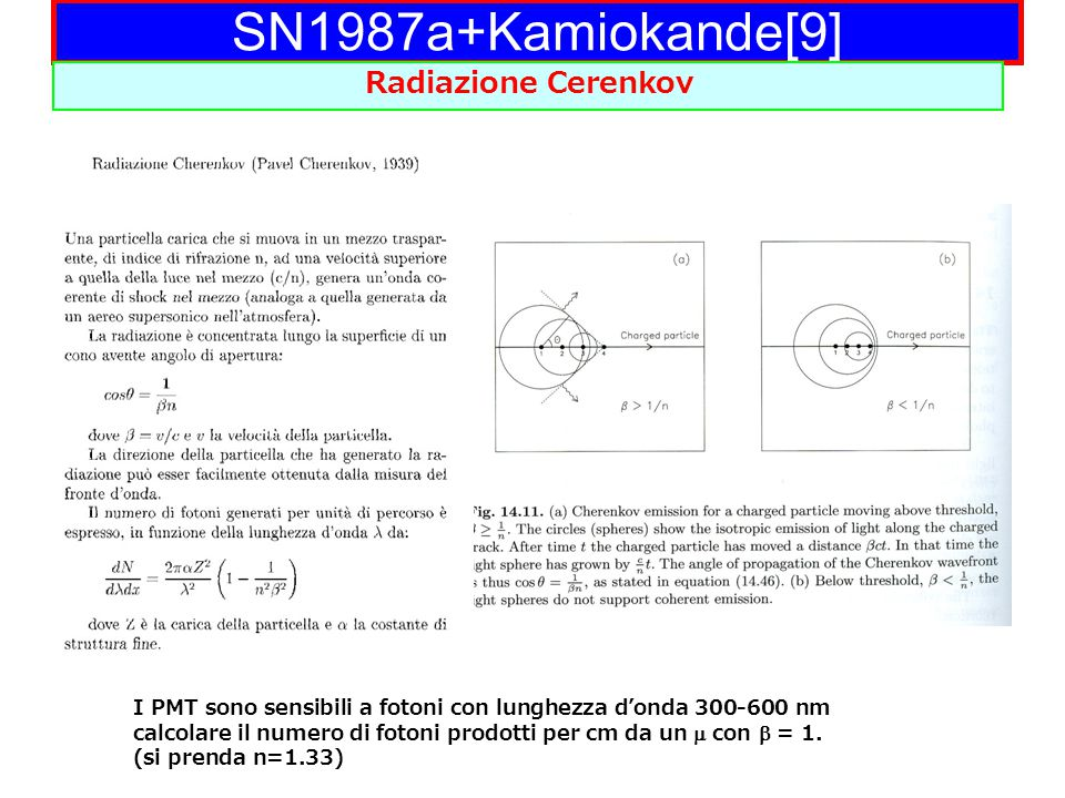 SN1987a+Kamiokande[9] Radiazione Cerenkov